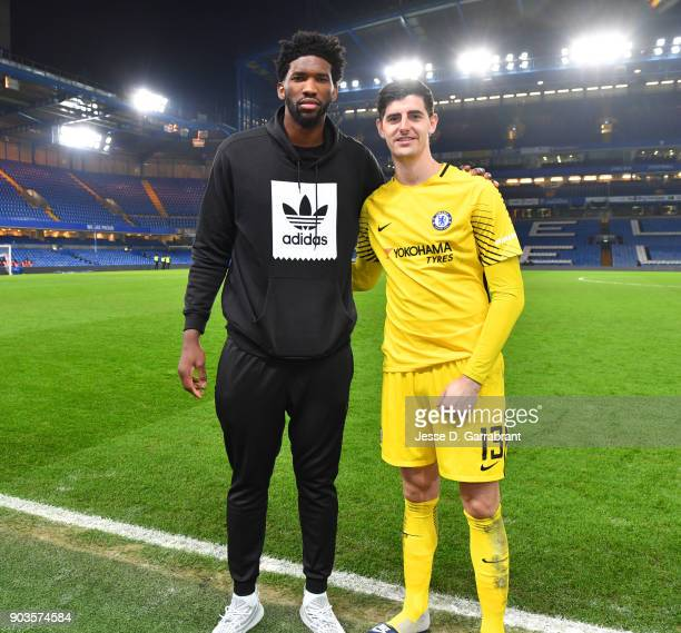 Joel Embiid of the Philadelphia 76ers poses for a photo during the Chelsea FC vs Arsenal FC soccer match as part of the 2018 NBA London Global Game...