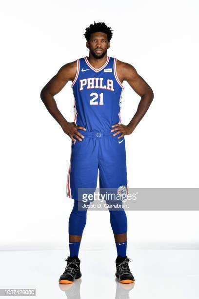 Joel Embiid of the Philadelphia 76ers poses for a portrait at the Wells Fargo Center in Philadelphia Pennsylvania on September 21 2018 NOTE TO USER...