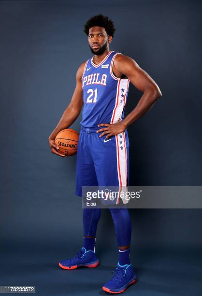 Joel Embiid of the Philadelphia 76ers poses for a portrait during Media Day at 76ers Training Complex on September 30 2019 in Camden New JerseyNOTE...