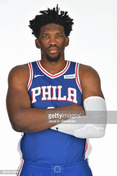 Joel Embiid of the Philadelphia 76ers poses for a portrait during 201718 NBA Media Day on September 25 2017 at Wells Fargo Center in Philadelphia...