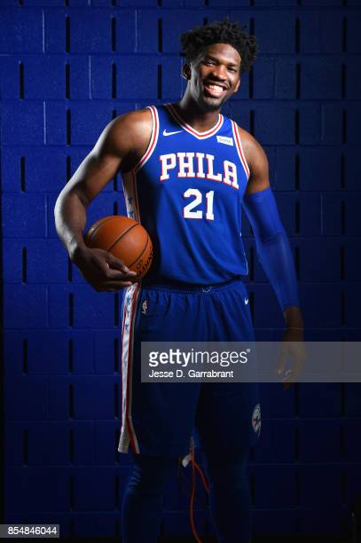 Joel Embiid of the Philadelphia 76ers poses for a portrait during 201718 NBA Media Day on September 25 2017 at Wells Fargo Center in Philadelphia...