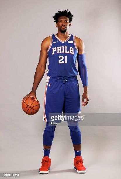 Joel Embiid of the Philadelphia 76ers poses for a portrait during the Philadelphia 76ers Media Day on September 25 2017 at the Philadelphia 76ers...