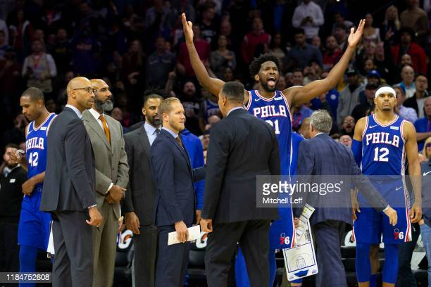 Joel Embiid of the Philadelphia 76ers reacts after getting ejected for fighting KarlAnthony Towns of the Minnesota Timberwolves in the third quarter...