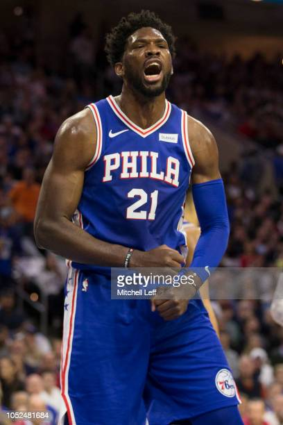 Joel Embiid of the Philadelphia 76ers reacts after getting fouled in the first quarter against the Chicago Bulls at Wells Fargo Center on October 18...