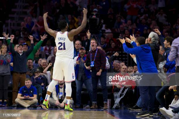 Joel Embiid of the Philadelphia 76ers reacts after making a basket and getting fouled in the fourth quarter against the Indiana Pacers at the Wells...