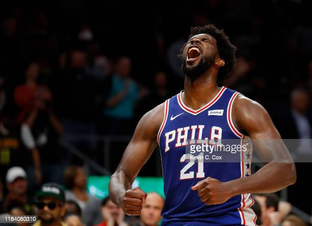 Joel Embiid of the Philadelphia 76ers reacts after their 105-103 win over the Atlanta Hawks at State Farm Arena on October 28, 2019 in Atlanta,...