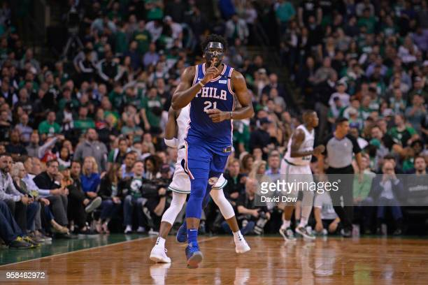 Joel Embiid of the Philadelphia 76ers reacts against Boston Celtics Game Five of the Eastern Conference Semifinals of the 2018 NBA Playoffs on May 9...