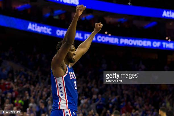 Joel Embiid of the Philadelphia 76ers reacts against the Brooklyn Nets in Game Two of Round One of the 2019 NBA Playoffs at the Wells Fargo Center on...