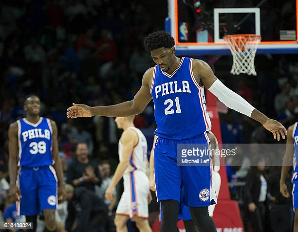 Joel Embiid of the Philadelphia 76ers reacts at the end of the third quarter against the Oklahoma City Thunder at Wells Fargo Center on October 26...
