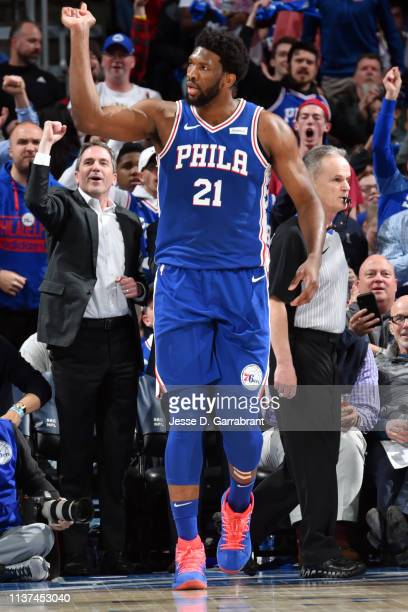Joel Embiid of the Philadelphia 76ers reacts during a game against the Brooklyn Nets during Game Two of Round One of the 2019 NBA Playoffs on April...