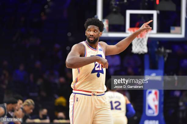 Joel Embiid of the Philadelphia 76ers reacts during a game against the Brooklyn Nets on April 14, 2021 at Wells Fargo Center in Philadelphia,...