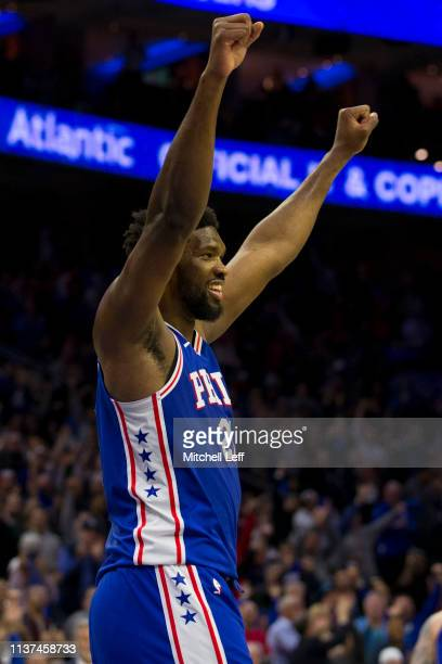 Joel Embiid of the Philadelphia 76ers reacts during action against the Brooklyn Nets in the third quarter of Game Two of Round One of the 2019 NBA...