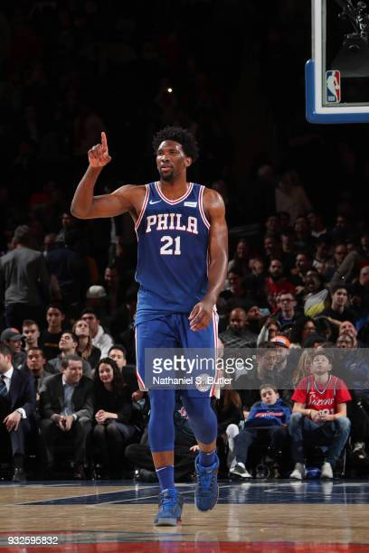 Joel Embiid of the Philadelphia 76ers reacts during the game against the New York Knicks on March 15 2018 at Madison Square Garden in New York City...