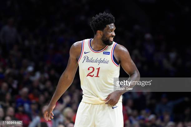 Joel Embiid of the Philadelphia 76ers reacts during the second half of the game against the Milwaukee Bucks at Wells Fargo Center on December 25 2019...