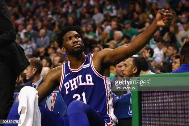 Joel Embiid of the Philadelphia 76ers reacts during the second half against the Boston Celtics at TD Garden on January 18 2018 in Boston Massachusetts