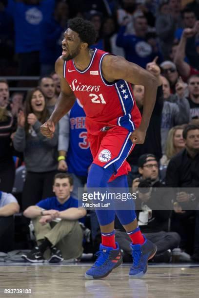 Joel Embiid of the Philadelphia 76ers reacts in the fourth quarter against the Oklahoma City Thunder at the Wells Fargo Center on December 15 2017 in...