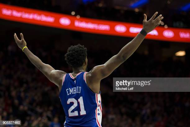 Joel Embiid of the Philadelphia 76ers reacts in the fourth quarter against the Toronto Raptors at the Wells Fargo Center on January 15 2018 in...