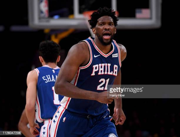 Joel Embiid of the Philadelphia 76ers reacts to his three pointer during a 121105 win over the Los Angeles Lakers at Staples Center on January 29...