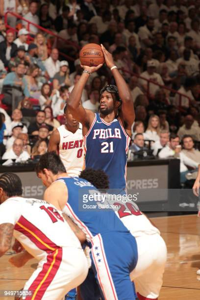 Joel Embiid of the Philadelphia 76ers shoots a free throw against the Miami Heat in Game Four of the Eastern Conference Quarterfinals during the 2018...