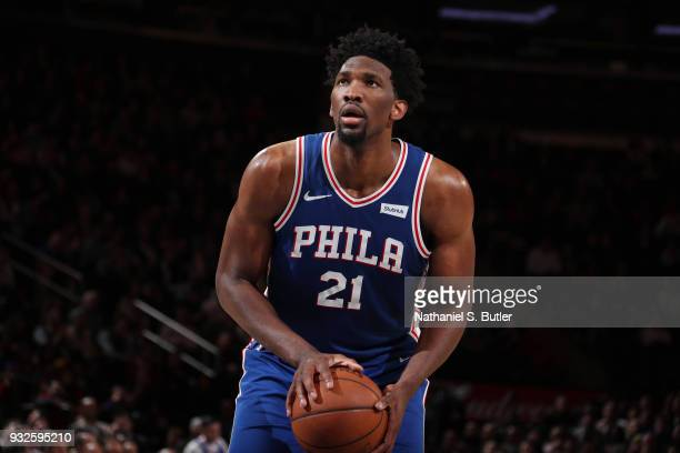 Joel Embiid of the Philadelphia 76ers shoots a free throw during the game against the New York Knicks on March 15 2018 at Madison Square Garden in...