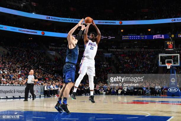 Joel Embiid of the Philadelphia 76ers shoots the ball against Orlando Magic during game at the Wells Fargo Center on February 24 2018 in Philadelphia...