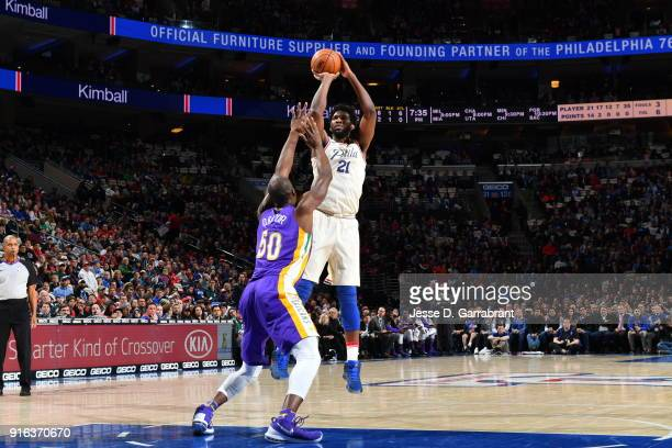 Joel Embiid of the Philadelphia 76ers shoots the ball against the New Orleans Pelicans at Wells Fargo Center on February 9 2018 in Philadelphia...