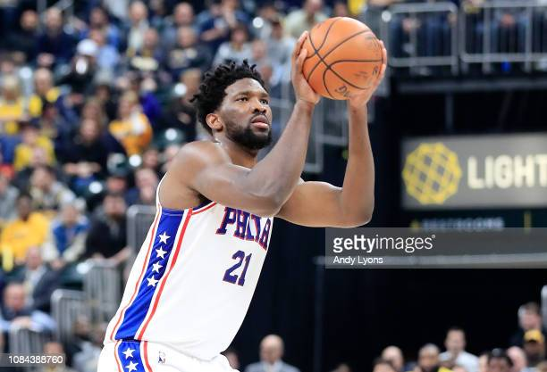 Joel Embiid of the Philadelphia 76ers shoots the ball against the Indiana Pacers at Bankers Life Fieldhouse on January 17 2019 in Indianapolis...