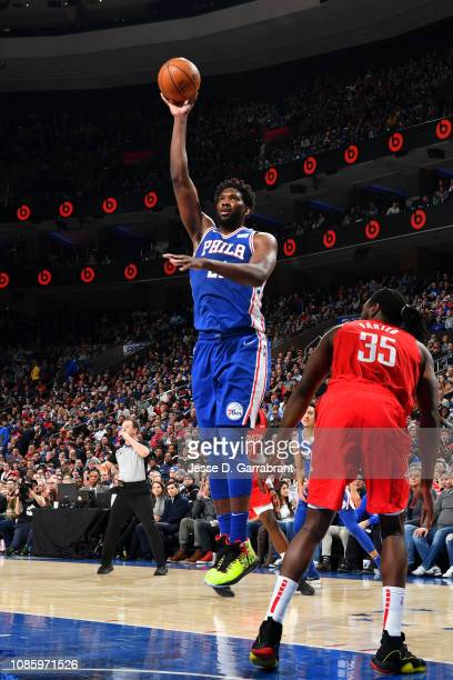 Joel Embiid of the Philadelphia 76ers shoots the ball against the Houston Rockets on January 21 2019 at the Wells Fargo Center in Philadelphia...