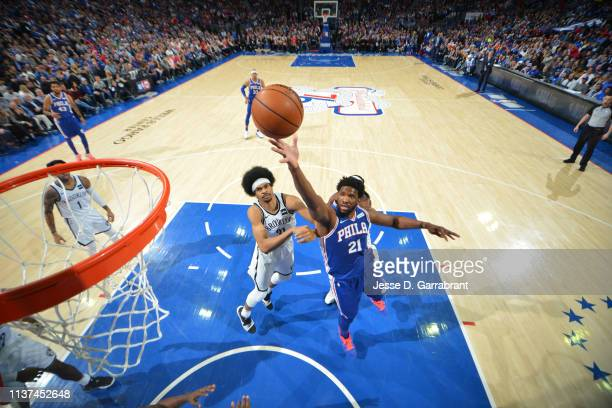 Joel Embiid of the Philadelphia 76ers shoots the ball against the Brooklyn Nets during Game Two of Round One of the 2019 NBA Playoffs on April 15...