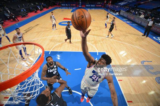 Joel Embiid of the Philadelphia 76ers shoots the ball against the Brooklyn Nets on April 14, 2021 at Wells Fargo Center in Philadelphia,...