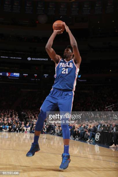 Joel Embiid of the Philadelphia 76ers shoots the ball during the game against the New York Knicks on March 15 2018 at Madison Square Garden in New...