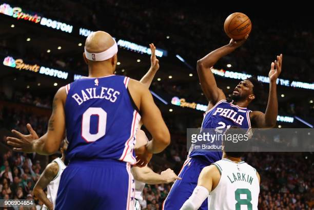 Joel Embiid of the Philadelphia 76ers shoots the ball during the second half against the Boston Celtics at TD Garden on January 18 2018 in Boston...