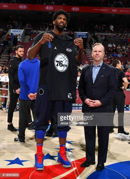 Joel Embiid of the Philadelphia 76ers shows off his AllStar Selection Jersey prior to the game against the Miami Heat at Wells Fargo Center on...
