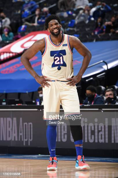 Joel Embiid of the Philadelphia 76ers smiles during a game against the Brooklyn Nets on April 14, 2021 at Wells Fargo Center in Philadelphia,...