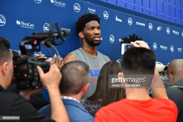 Joel Embiid of the Philadelphia 76ers talks to the media during practice at the Sixers Training Complex in Camden New Jersey on December 14 2017 NOTE...