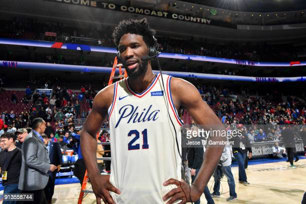 Joel Embiid of the Philadelphia 76ers talks with the media after the game against the Miami Heat on February 2 2018 in Philadelphia Pennsylvania NOTE...