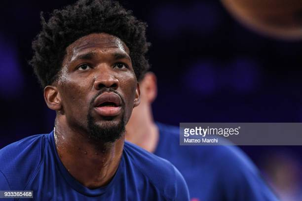Joel Embiid of the Philadelphia 76ers warms up before the game against the New York Knicks at Madison Square Garden on March 15 2018 in New York City...