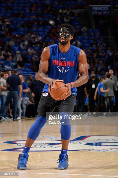 Joel Embiid of the Philadelphia 76ers warms up before the game against the Miami Heat In game one of round one of the 2018 NBA Playoffs on April 14...