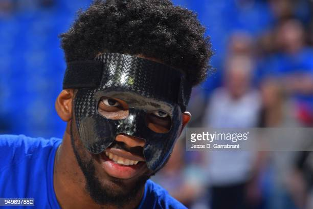 Joel Embiid of the Philadelphia 76ers warms up prior to game one of round one of the 2018 NBA Playoffs against the Miami Heat on April 14 2018 at...