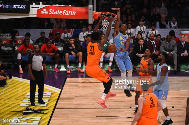 Joel Embiid of the World Team dunks during the Mtn Dew Kickstart Rising Stars Game during AllStar Friday Night as part of 2018 NBA AllStar Weekend at...