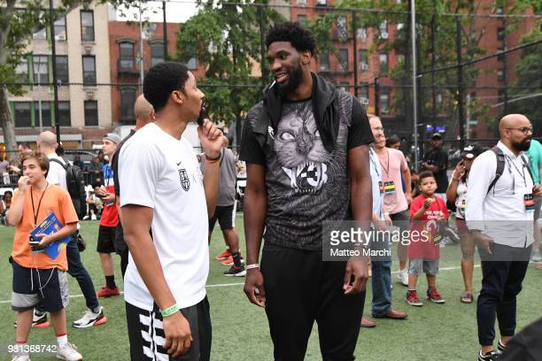 Joel Embiid with Spencer Dinwiddie during the 2018 Steve Nash Showdown on June 20 2018 in New York City