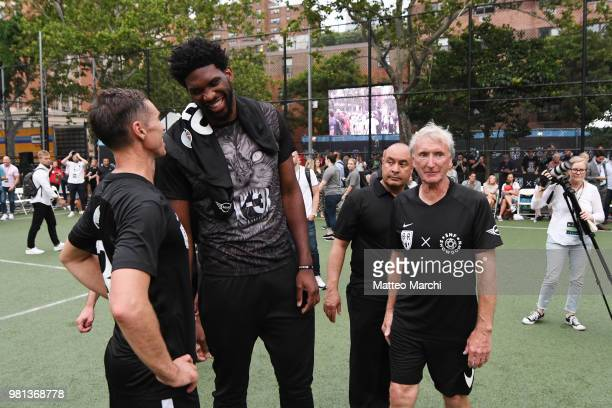 Joel Embiid with Steve Nash and John Nash during the 2018 Steve Nash Showdown on June 20 2018 in New York City