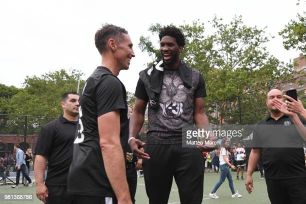 Joel Embiid with Steve Nash during the 2018 Steve Nash Showdown on June 20 2018 in New York City