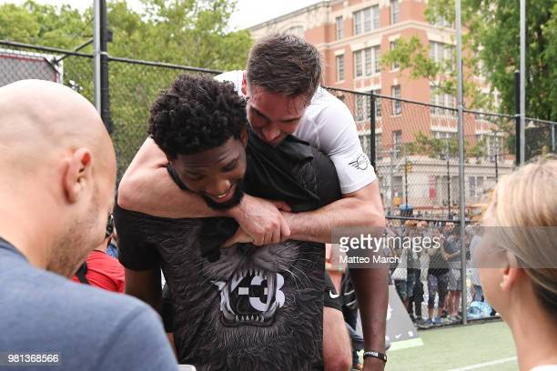 Joel Embiid with TJ McConnell during the 2018 Steve Nash Showdown on June 20 2018 in New York City