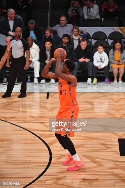 Joel Emiid of the World Team shoots the ball against the USA Team during the Mountain Dew Kickstart Rising Stars Game during AllStar Friday Night as...