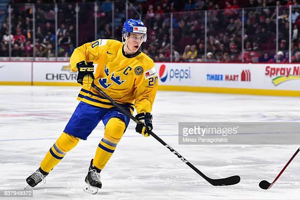 Joel Eriksson Ek of Team Sweden skates during the 2017 IIHF World Junior Championship quarterfinal game against Team Slovakia at the Bell Centre on...