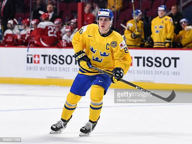 Joel Eriksson Ek of Team Sweden skates during the IIHF World Junior Championship preliminary round game against Team Denmark at the Bell Centre on...