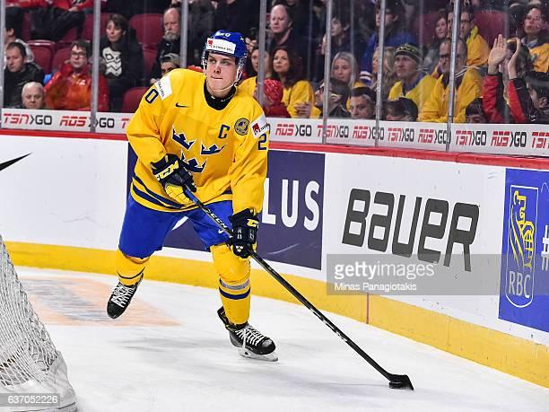 Joel Eriksson Ek of Team Sweden skates the puck during the 2017 IIHF World Junior Championship preliminary round game against Team Switzerland at the...