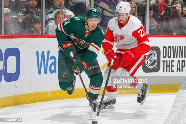 Joel Eriksson Ek of the Minnesota Wild and Dennis Cholowski of the Detroit Red Wings battle for the puck during the game at the Xcel Energy Center on...