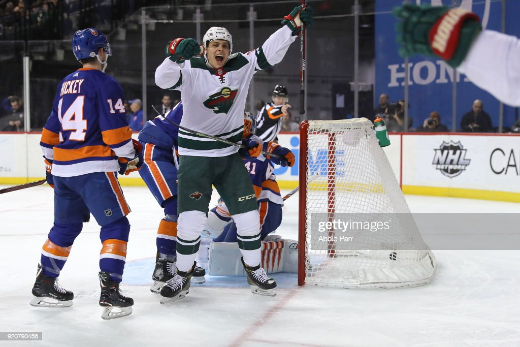 Joel Eriksson Ek #14 of the Minnesota Wild celebrates after scoring a goal in the first peroid against the New York Islanders during their game at Barclays Center on February 19, 2018 in the Brooklyn borough of New York City.